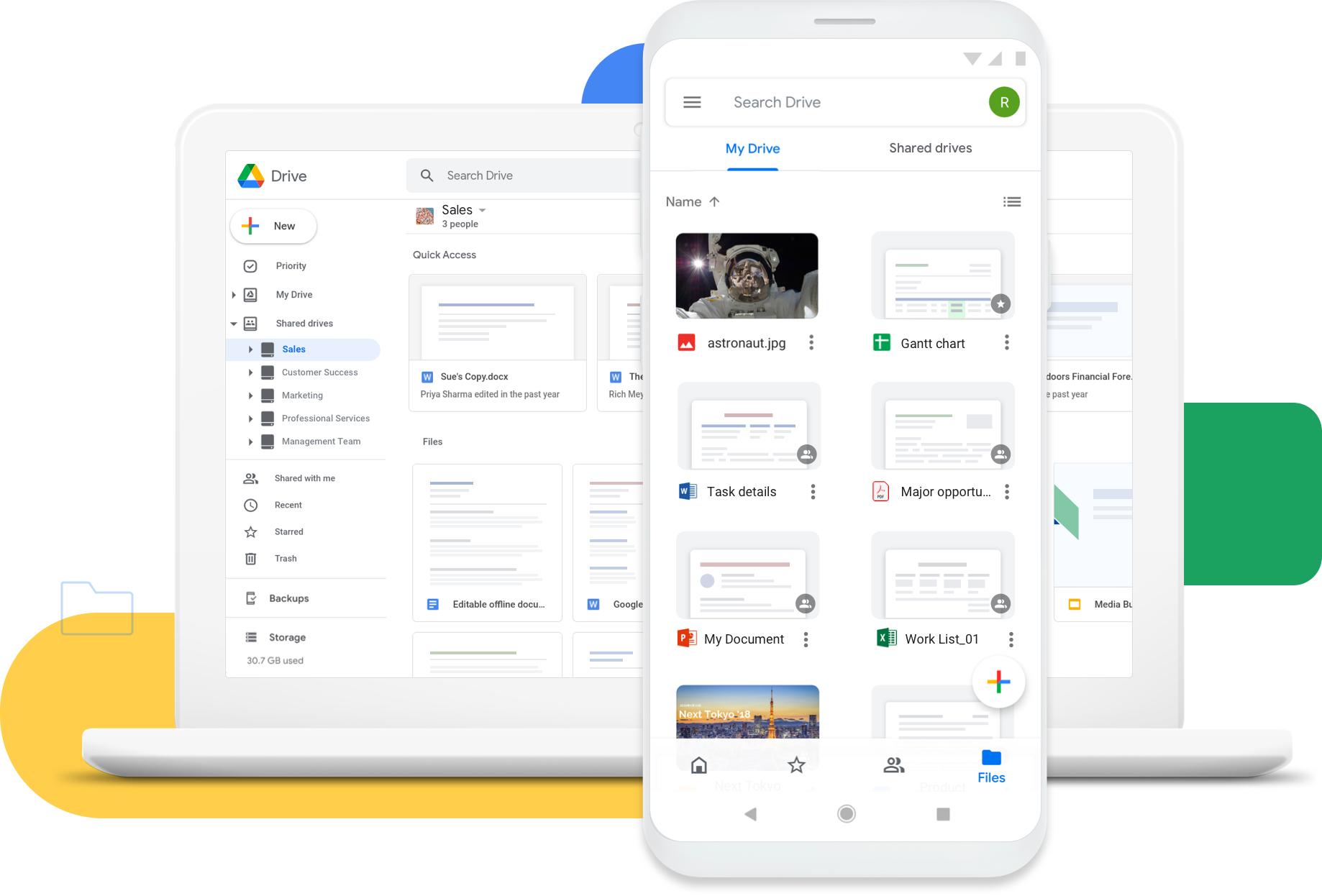 Google Driveのトップ画面(PC/スマホ)
