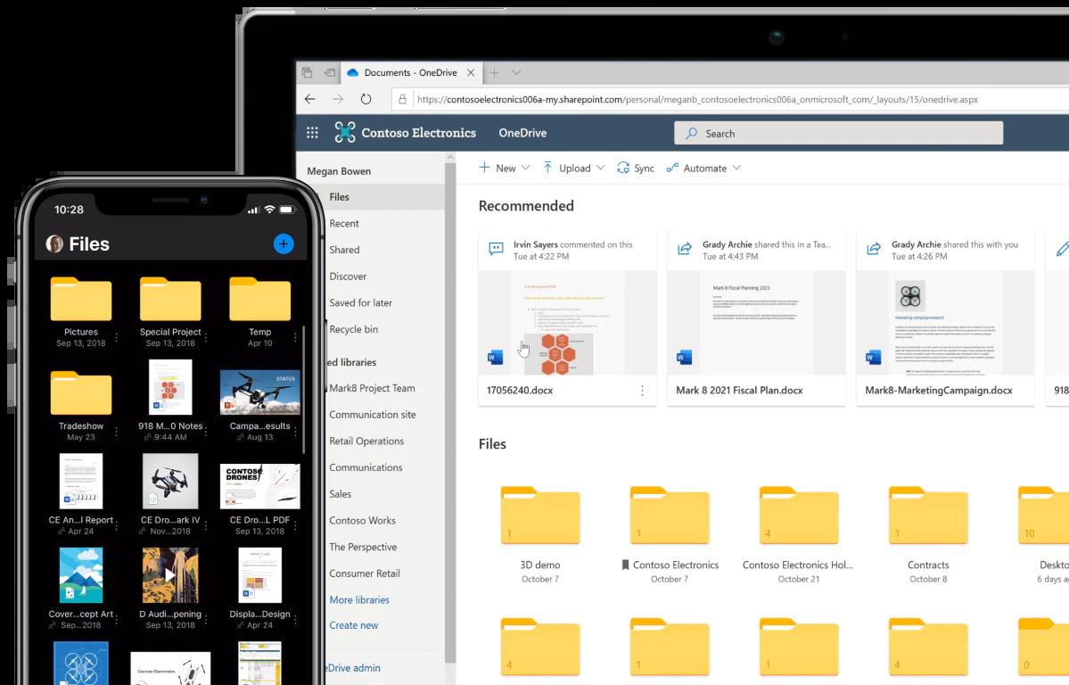 OneDrive for Businessのトップ画面(PC/スマホ)