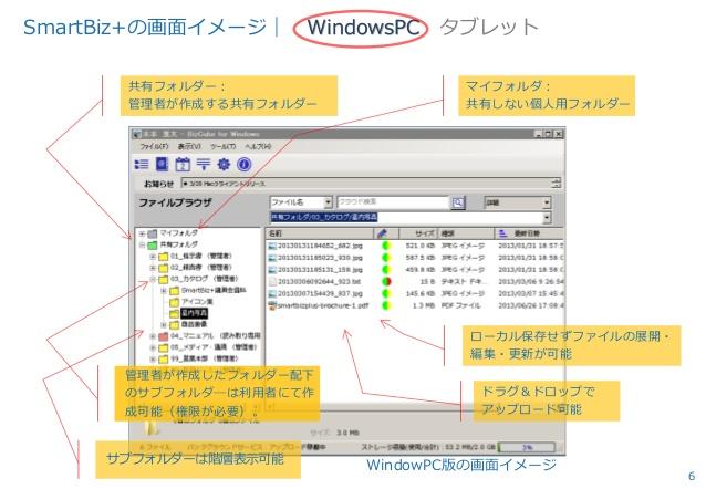 SmartBiz+のファイル共有画面(PC)