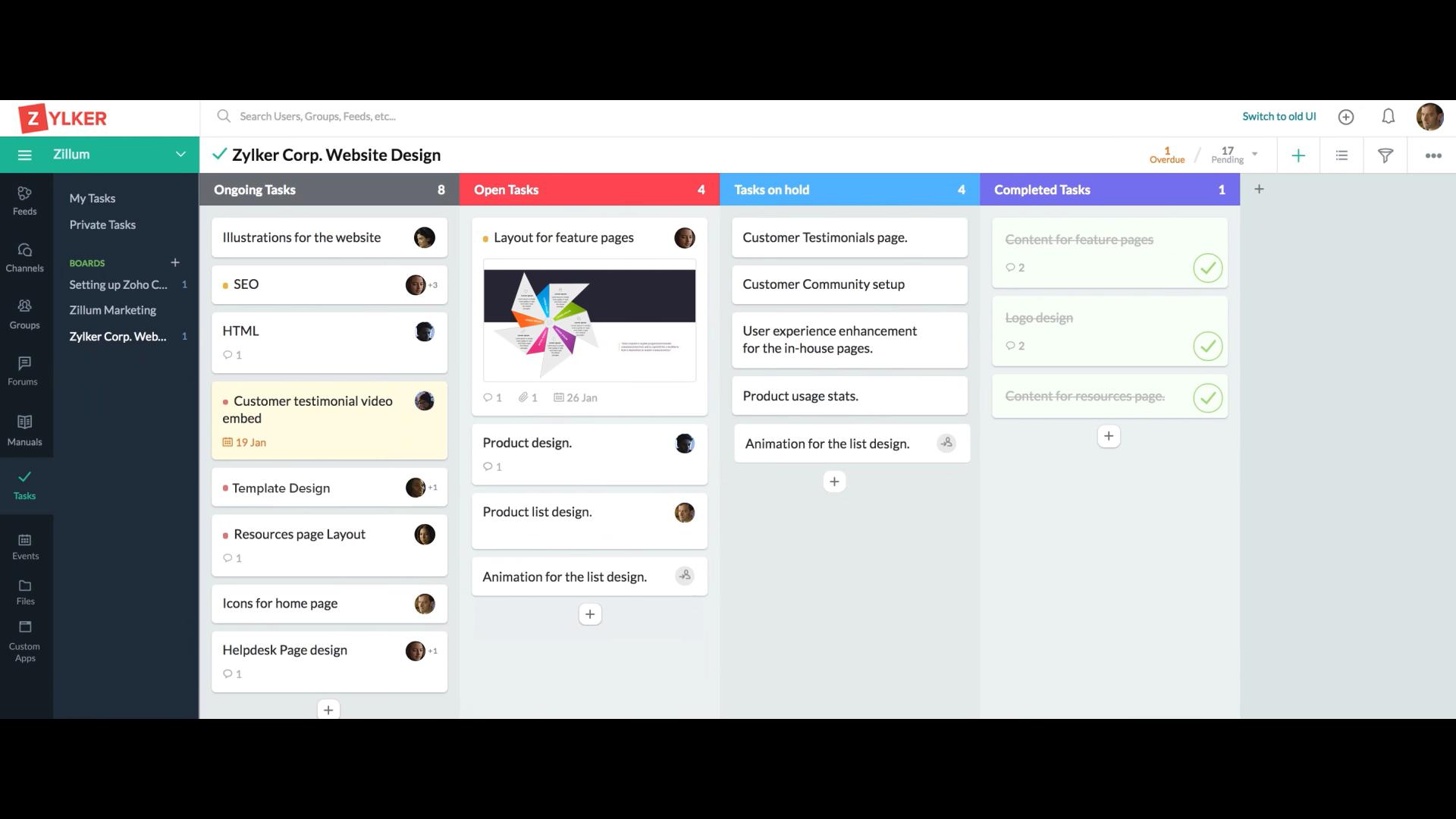 Zoho Connectの管理画面(PC)