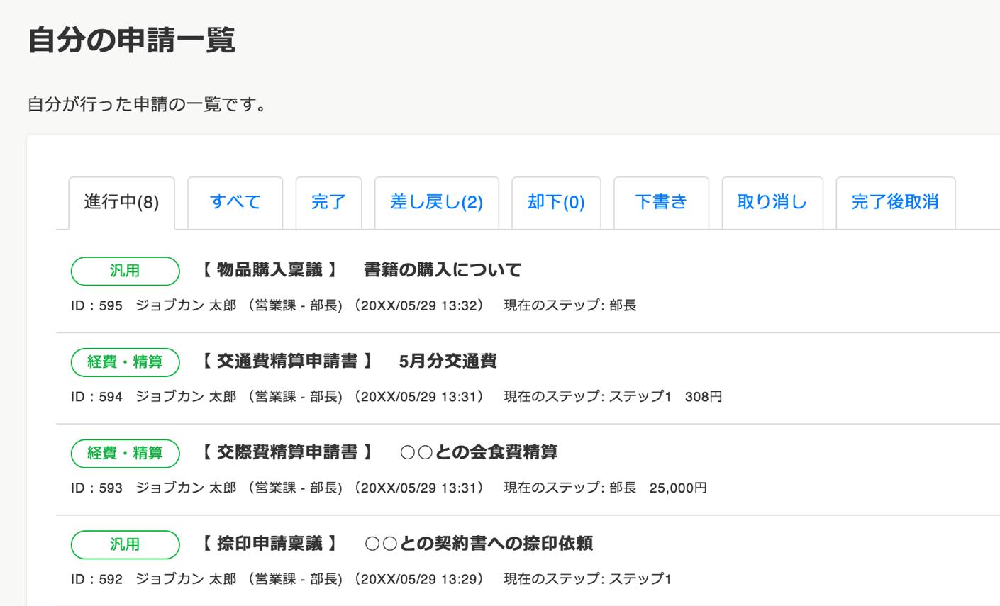 ジョブカンワークフローの申請画面(PC)