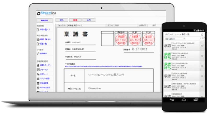 Streamlineの申請画面(PC/スマホ)
