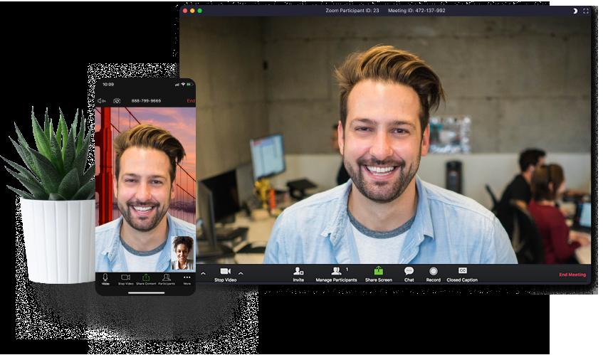 Zoom Meetingsの通話画面(PC/スマホ)