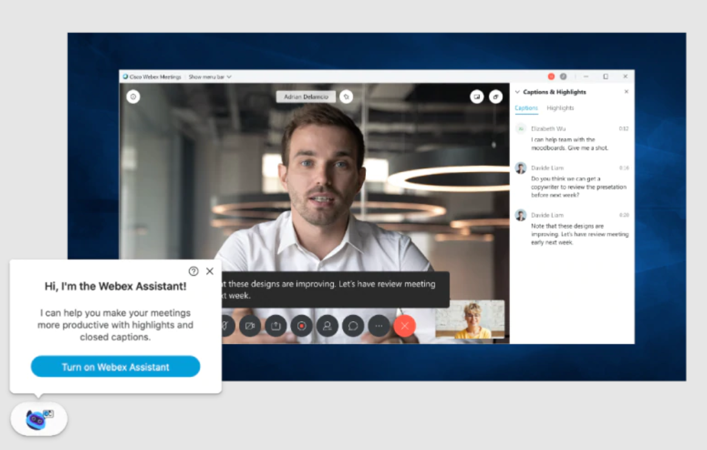 Cisco Webex Meetingsの通話画面(PC)