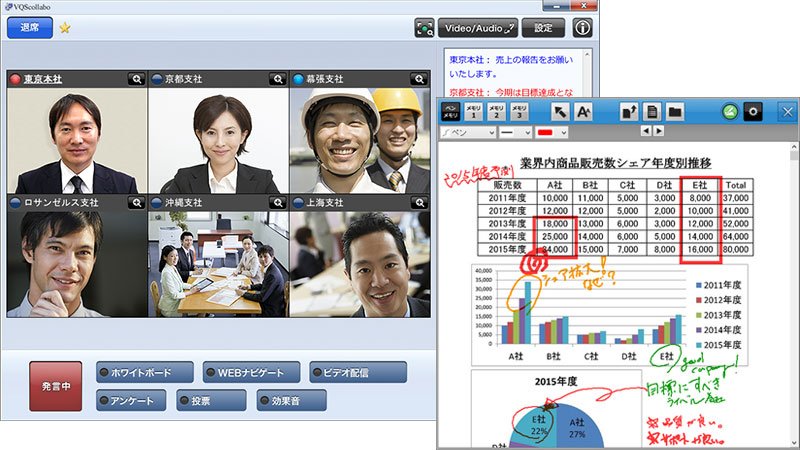 VQSコラボBusinessの資料共有画面(PC)